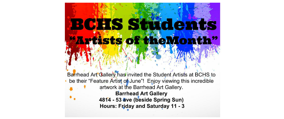 """BCHS Students """"Artists of the Month"""""""